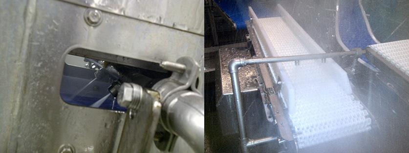 Imagen 1: Barras de boquillas superior e inferior para la limpieza de ambas caras de una cinta.