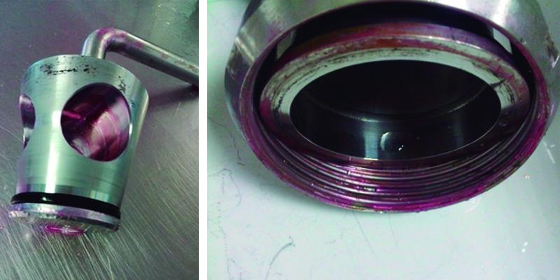 Aplicación de TBF300 en un sistema de cuchillas y coloración resultante que indica la presencia de bio-films
