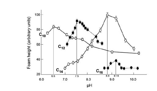 Figura 4: Relación entre la longitud de la cadena, el pKa y la altura inicial de la espuma de una serie de ácidos grasos. Fuente: Pugh, 2016.