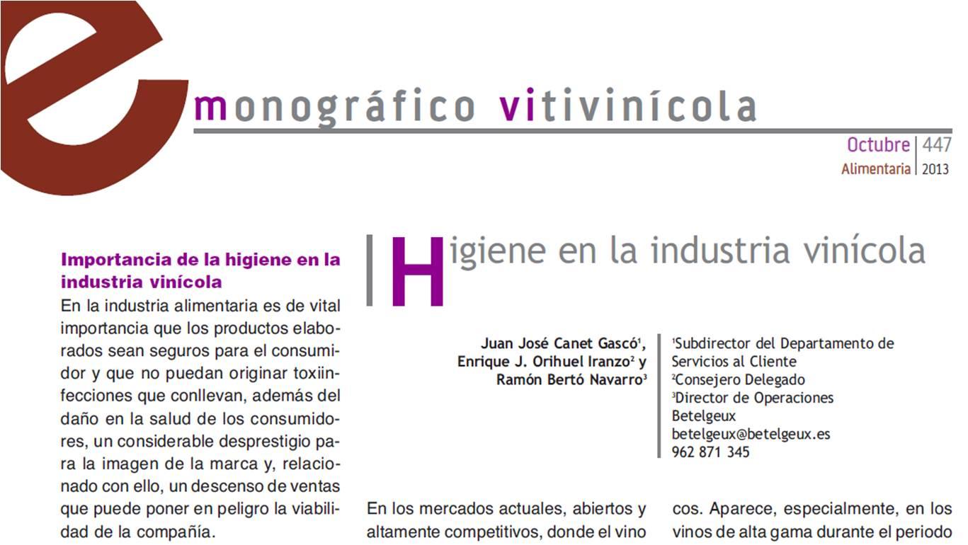 Higiene en la industria vinícola