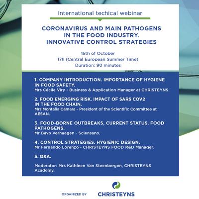 CHRISTEYNS organiza un webinar internacional sobre coronavirus y patógenos en la industria alimentaria